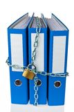File folders locked with chain. A file folder with chain and padlock closed. Privacy and data security Stock Photos
