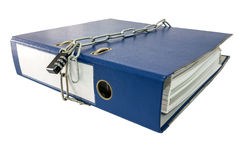 File folders locked with key chain. royalty free stock photo