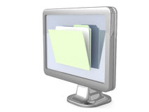 File Folders on a Monitor. An illustration of a file folder on an office monitor on a white  background Royalty Free Stock Image