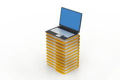 File folders next to a modern laptop Royalty Free Stock Photos