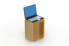 File folders next to a modern laptop Royalty Free Stock Image