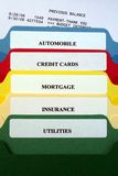 File Folders of Personal Bills. This is an image of the tabs on various file folders of bills royalty free stock photos