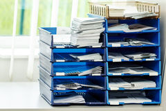 File folders on the shelves at office Stock Image