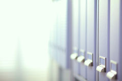 File folders, standing on  shelves in the Royalty Free Stock Photo
