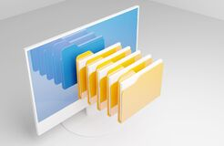 File Folders Storage And Computer Royalty Free Stock Image