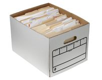 File folders in storage box Stock Photos