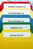File Folders of Taxes. This is an image of file folder tabs on various tax files stock photography
