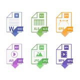 File format. Flat design. Icon set. File extension icons Stock Photo