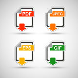 File format flat icon set. Web development file format flat icon set Stock Photos