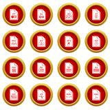 File format icon red circle set Royalty Free Stock Photo