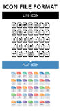 File format icon set. File format in flat style. File format in line style. Royalty Free Stock Image