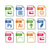 File format icon set. Images file type icons. Pictures file format icons Stock Images