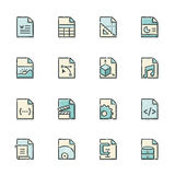 File Format Icons. Hand drawn blue and beige file type icons. File format is EPS8 Stock Images