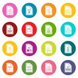 File format icons many colors set Stock Images