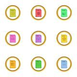 File format icons set, cartoon style. File format icons set. Cartoon style set of 9 file format vector icons for web design Royalty Free Stock Image