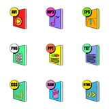 File format icons set, cartoon style. File format icons set. Cartoon illustration of 9 file format vector icons for web Royalty Free Stock Photos