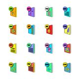 File format icons set cartoon Stock Image