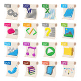 File format icons set, cartoon style. File format icons set in cartoon style  on white background Stock Photos