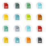 File format icons set, flat style. File format icons set in flat style. Document files set collection vector icons set illustration Stock Photography