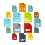 File format icons set, flat style. File format icons set in flat style. Document files set collection vector illustration Stock Photography