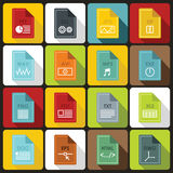 File format icons set in flat style Royalty Free Stock Image