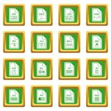 File format icons set green Stock Photography