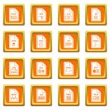 File format icons set orange. File format icons set in orange color isolated vector illustration for web and any design Royalty Free Stock Image