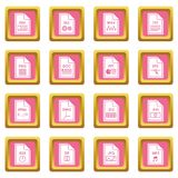 File format icons pink Stock Photography