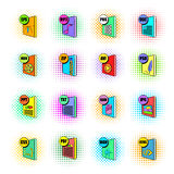 File format icons set, pop-art style. File format icons set in pop-art style  on white background Stock Image