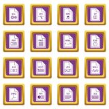 File format icons set purple Royalty Free Stock Images