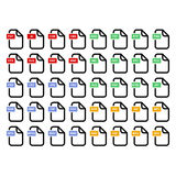 File format icons set Stock Image