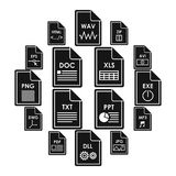 File format icons set, simple style. File format icons set in simple style. File formats set collection vector illustration Royalty Free Stock Photos