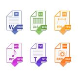 File format. Set icon. Flat design. File extension icons Royalty Free Stock Images
