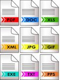 File formats icon set - vector. A set of icons for 9 different file formats - vector Royalty Free Stock Photo