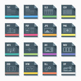 File formats icons set with illustrations. Vector flat style dark grey square proportion file formats icons with symbols Stock Photo