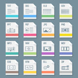 File formats icons set with illustrations. Vector various flat style light colors file formats icons with symbols Stock Images