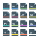 File formats minimal design icons set. Vector flat style dark grey rounded square proportion file formats colored icons Royalty Free Stock Image