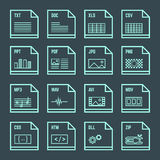 File formats minimal outline design icons set. Vector outline light blue green square proportion file formats with symbols on dark Royalty Free Stock Images
