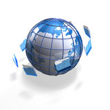 File globe. A blue business globe with files flying around it Royalty Free Stock Images