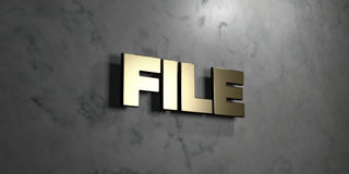 File - Gold sign mounted on glossy marble wall - 3D rendered royalty free stock illustration. This image can be used for an online website banner ad or a print stock illustration