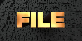 File - Gold text on black background - 3D rendered royalty free stock picture. This image can be used for an online website banner ad or a print postcard Royalty Free Stock Images