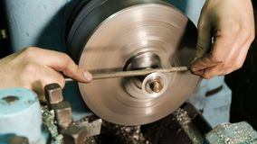 File Grinding on a Lathe.  stock footage