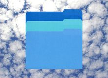 File heaven. 3 blue files on a cloudy blue sky Royalty Free Stock Photography