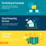 File hosting flat banners set Royalty Free Stock Photo