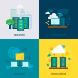 File hosting flat icons composition. File hosting cloud storage data center users support service 4 flat icons composition abstract isolated vector illustration Royalty Free Stock Photo