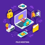 File Hosting Isometric Design Concept. File hosting design concept set of data storage and exchange service isometric icons 3d vector illustration Royalty Free Stock Images