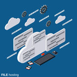 File hosting vector concept. File hosting flat 3d isometric vector concept illustration Stock Photos