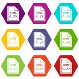 File HTML icon set color hexahedron. File HTML icon set many color hexahedron isolated on white vector illustration Royalty Free Stock Photo