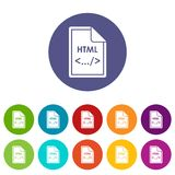 File HTML set icons. In different colors isolated on white background Stock Images