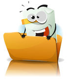 File Icon Character. Illustration of a cartoon happy funny file icon character coming from folder Stock Photography